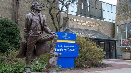 Hofstra University's Thomas Jefferson statue is seen in