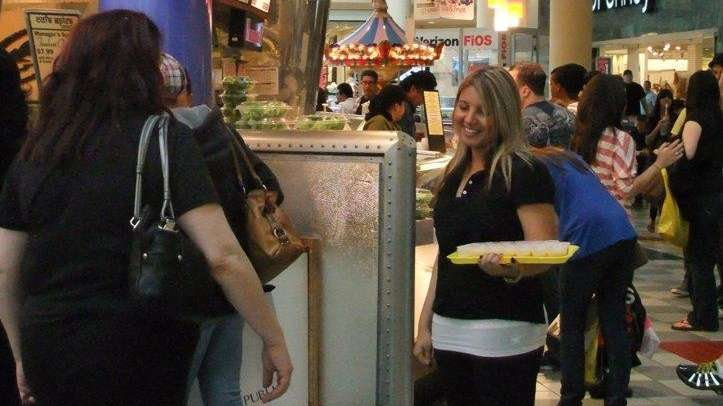 Food court samples at Roosevelt Field