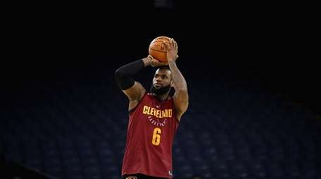 LeBron James of the Cleveland Cavaliers works out