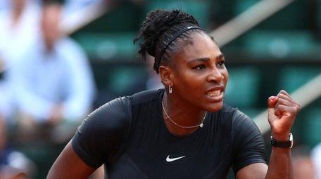 Serena Williams celebrates during the ladies singles second-round