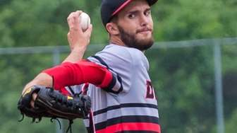 Center Moriches starting pitcher Liam Pulsipher delivers against