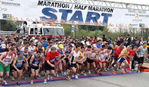 Start Area of the Long Island Marathon. (May