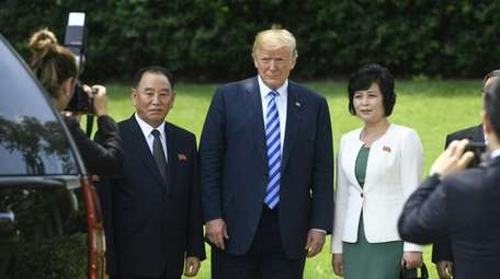 President Donald Trump with Kim Yong Chol of
