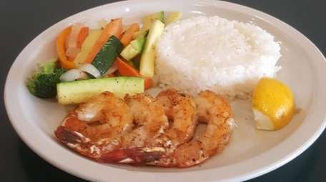 Grilled shrimp with rice and vegetables at Garden