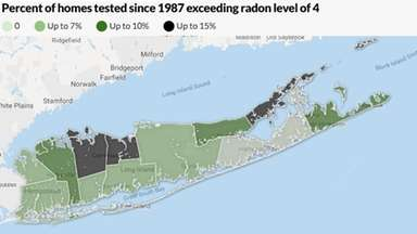 Radon levels in Long Island homes