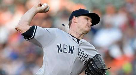 Yankees' Sonny Gray delivers during the first inningagainst