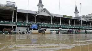 Water is seen on the track before the