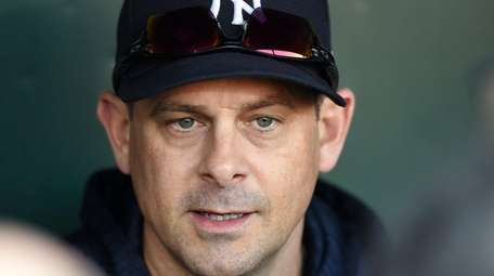 Yankees manager Aaron Boone addresses the media before