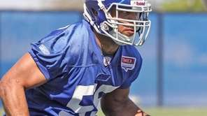 Giants Phillip Dillard during workouts at Giants minicamp.