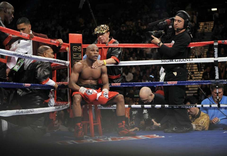 Floyd Mayweather Jr. is seen in his corner