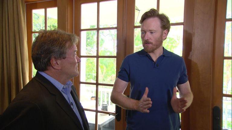 Conan O'Brien, right, in his Los Angeles home