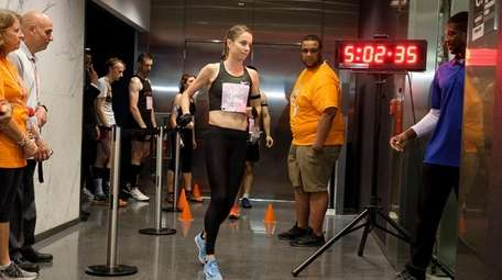 Suzy Walsham, the female first-place winner, approaches the