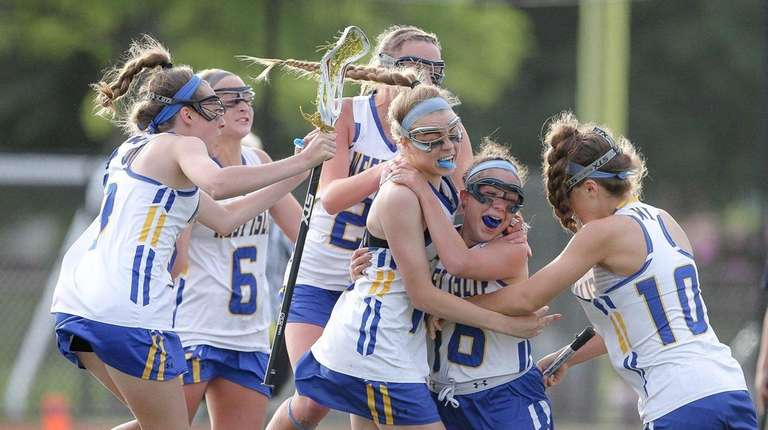 West Islip celebrates its win in the Long