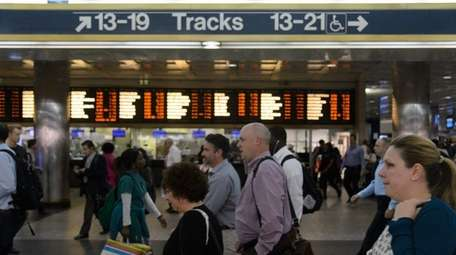 Long Island Rail Road passengers arrive at Penn