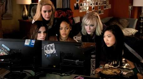 Sandra Bullock, left, Sarah Paulson, Rihanna, Cate Blanchett