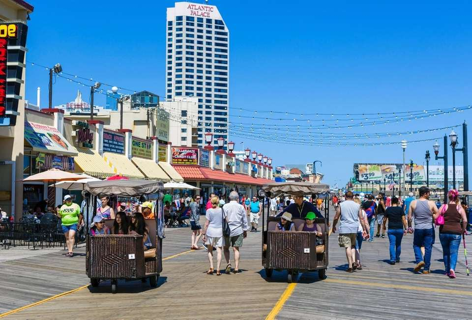 The Atlantic City Boardwalk's famous rolling chairs move