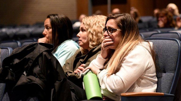 Riverhead High School educators including Rebecca Krupski, right,