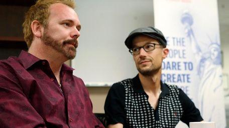 Charlie Craig, left, and David Mullins talk on