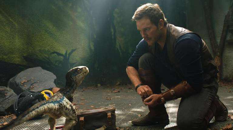 "Chris Pratt with a baby velociraptor in ""Jurassic"
