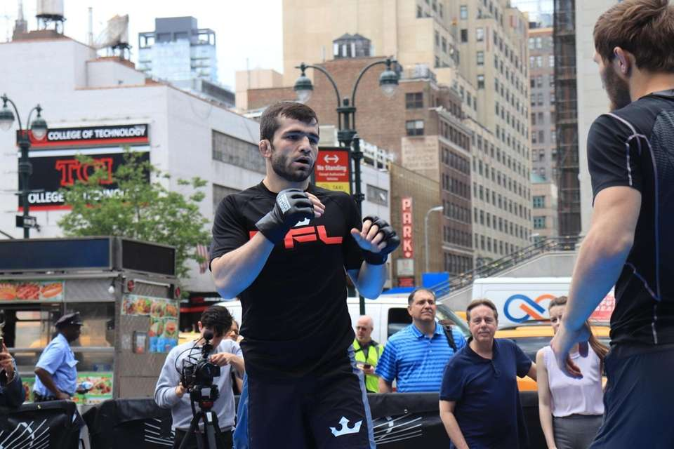 Timur Valiev works out at the open workout