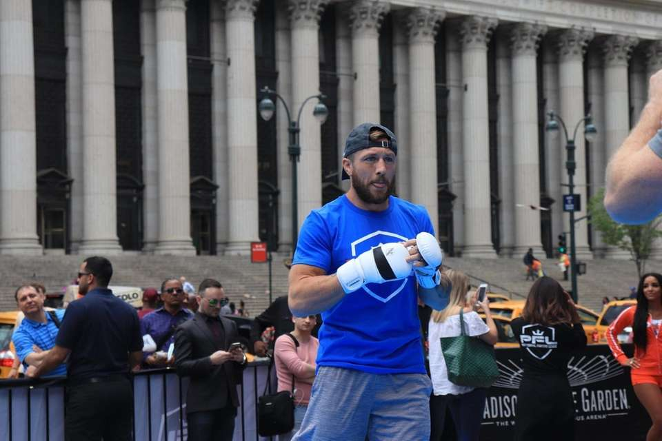 Lance Palmer works out at the open workout