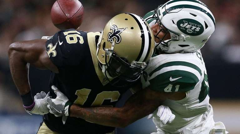 Jets cornerback Buster Skrine (41) forces a fumble
