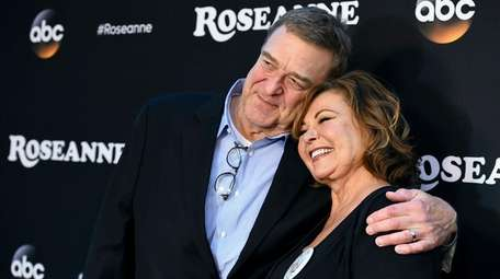 Actors John Goodman and Roseanne Barr promote their