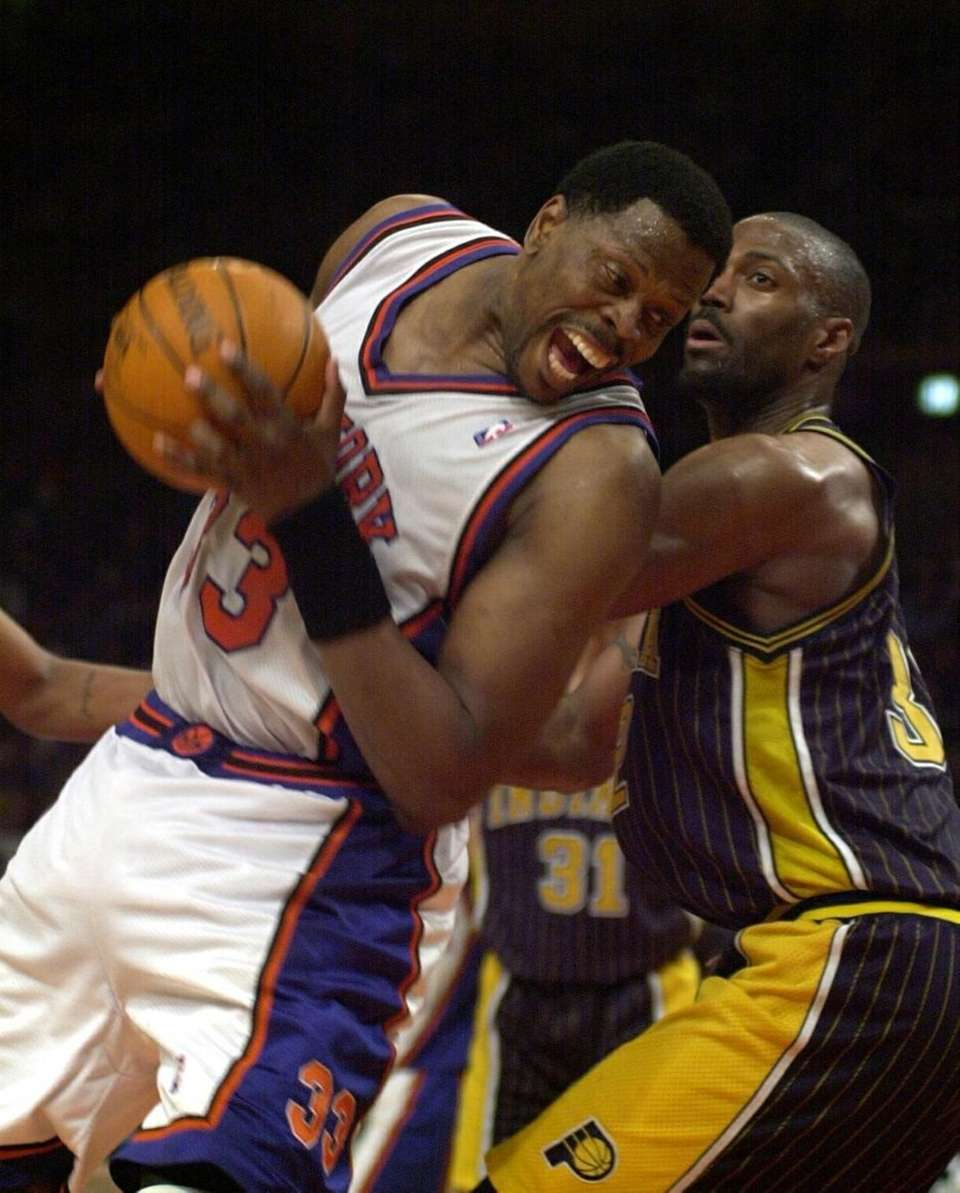 Patrick Ewing tries to get by the Indiana