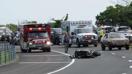 A Levittown man died in a motorcycle crash