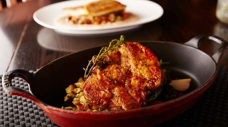 The Organic Chicken with jardiniere vegetables, spaetzle, and