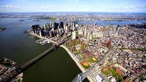 Lower Manhattan is shown in this aerial photo.