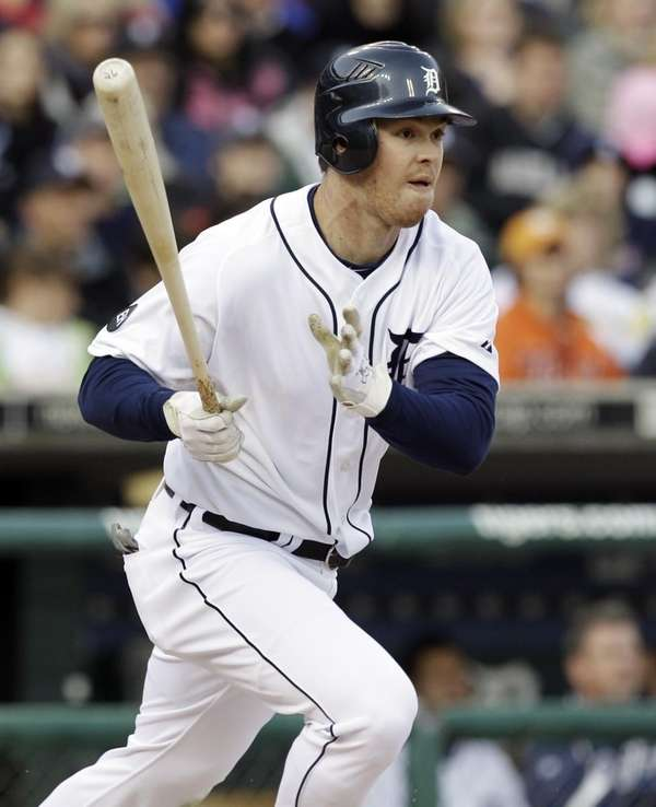 Detroit's Brennan Boesch watches his two-run single against