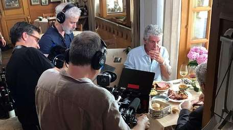 CNN's Anthony Bourdain with a crew at a