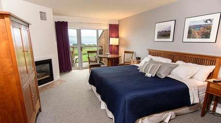 A guestroom at The Inn at Glenora Wine