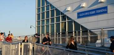 Commuters get on a ferry at Glen Cove