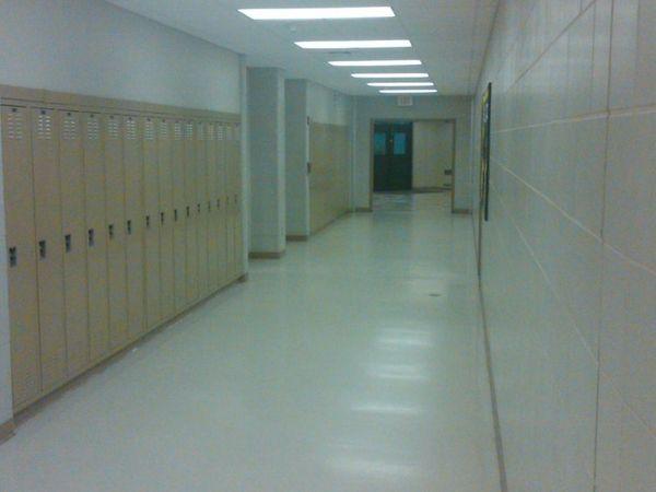 The hallway at Commack High School
