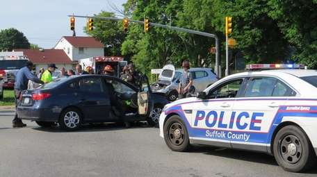 Three people were hurt in a crash Saturday