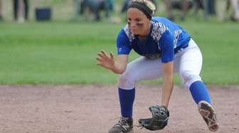 East Meadow's Jenna Laird fields a ground ball