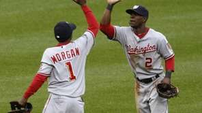 Washington Nationals center fielder Nyjer Morgan (1) congratulates