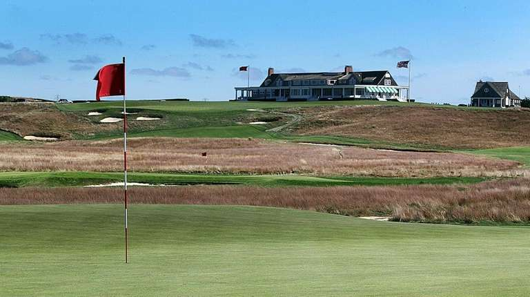 A view of the clubhouse from across the