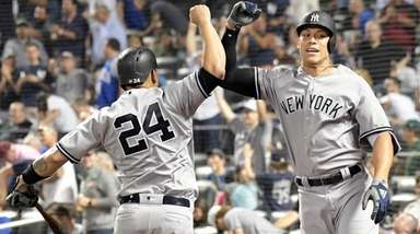 Yankees outfielder Aaron Judge celebrates his home run
