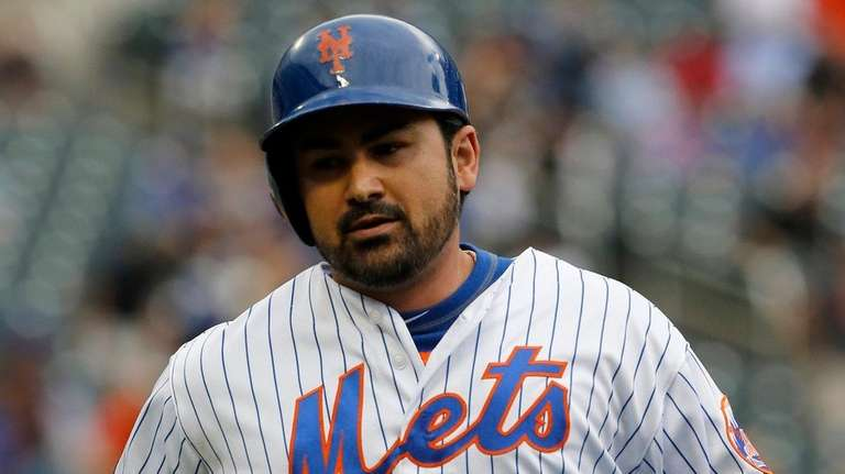 Adrian Gonzalez of the Mets looks on after