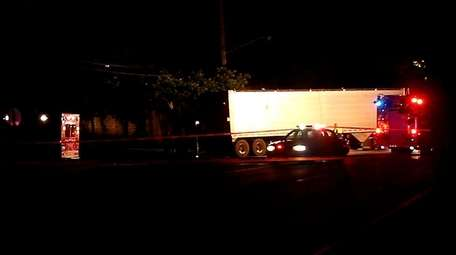 Scene of tractor trailer crash Sunday night in