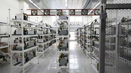 A cryptocurrency mining facility in Incheon, South Korea,