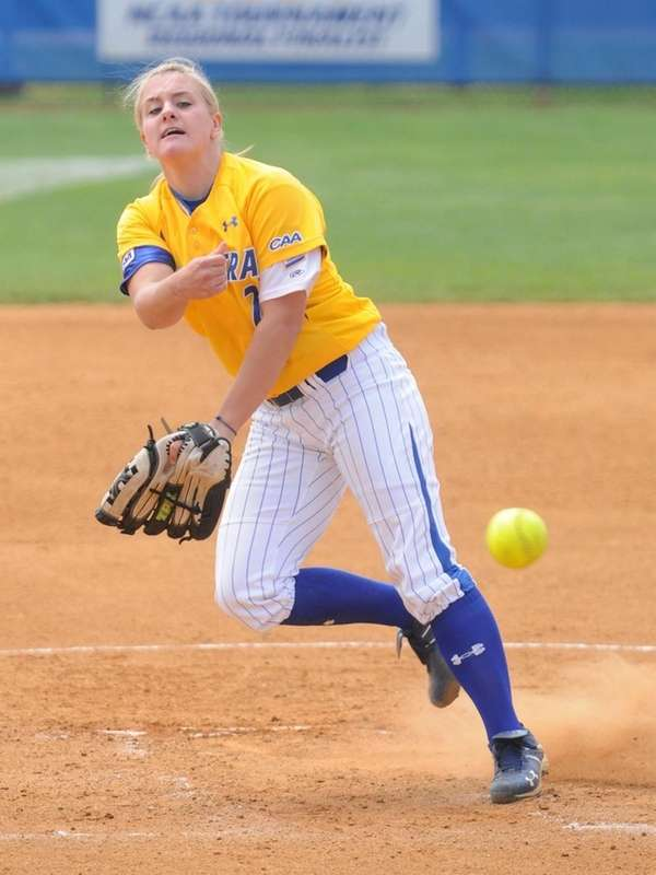 Hofstra University freshman pitcher Olivia Galati delivers to