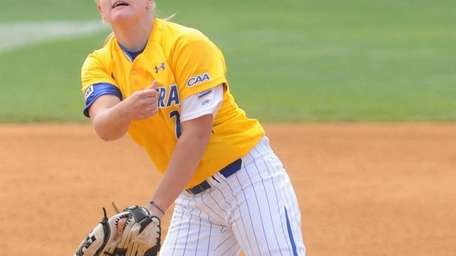 Hofstra University freshman pitcher Olivia Galati delivers to