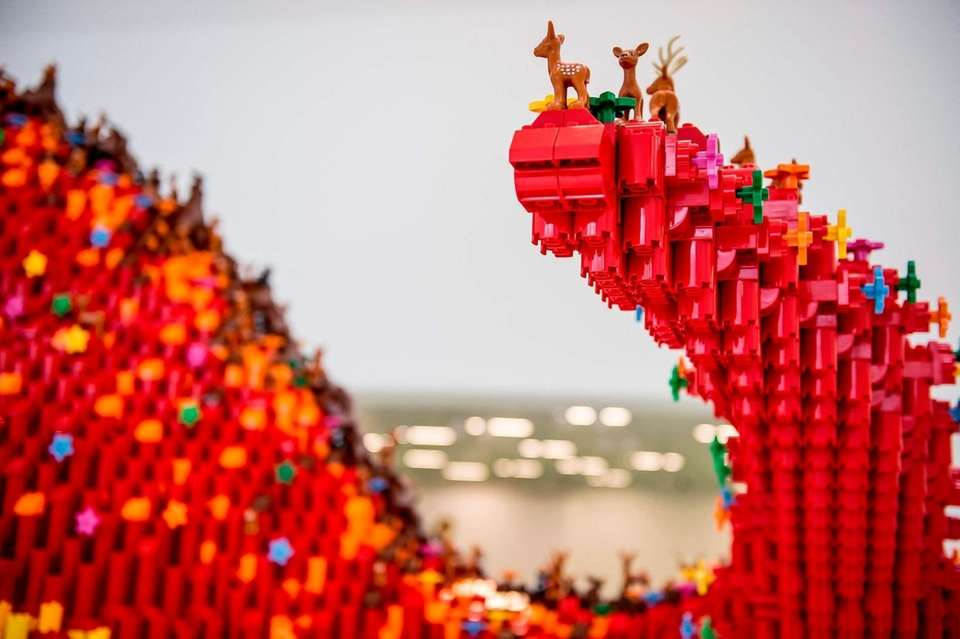 A construction made of Lego bricks is pictured