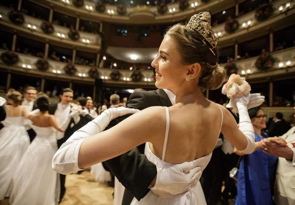 Debutants dance at the traditional 62nd Vienna Opera