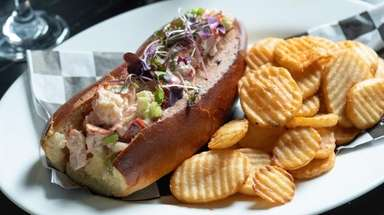 The lobster salad roll, with lemony mayo,