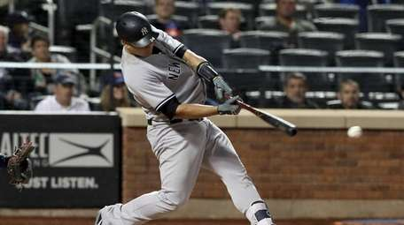 Gary Sanchez of the Yankees hits into a